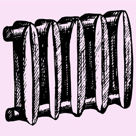 cast iron: cast iron radiator home doodle style sketch illustration hand drawn vector