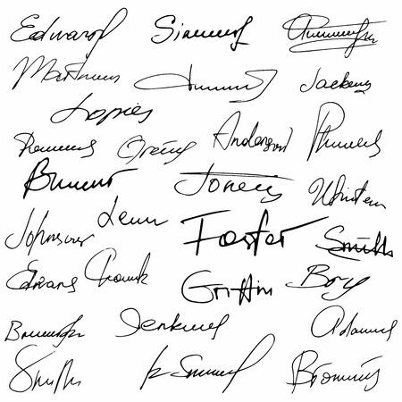 autograph: Signatures set fictitious contract signatures business autograph illustration