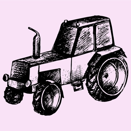 tractor doodle style sketch illustration hand drawn vector