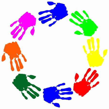free place: Set watercolor colorful hand print with free place for text vector