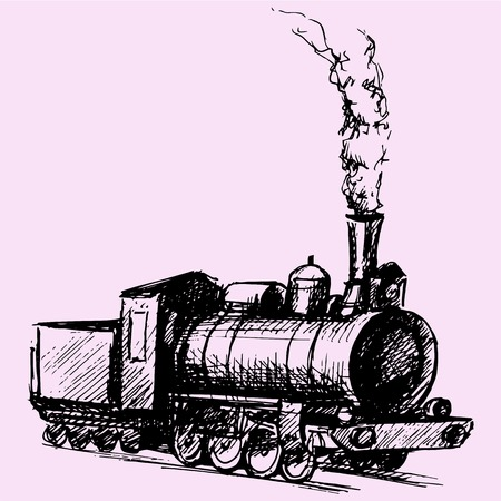 retro steam locomotive doodle style sketch illustration hand drawn vector Illustration
