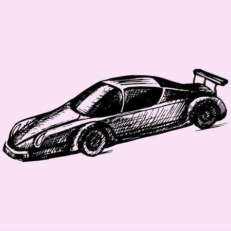 estilo de dibujo coche deportivo ilustración boceto dibujado a mano vector Vectores