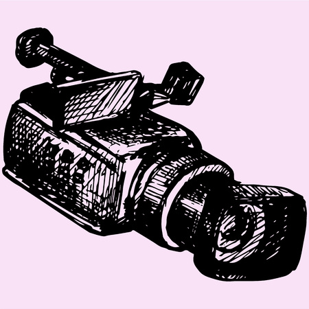 Professional camcorder doodle style sketch illustration hand drawn vector