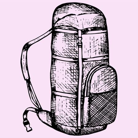 montañas caricatura: estilo de dibujo mochila turístico ilustración croquis dibujado a mano vector Vectores
