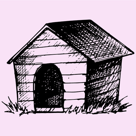 doghouse: Doghouse doodle style sketch illustration hand drawn vector