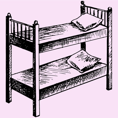 bunk: Kids bunk bed doodle style sketch illustration hand drawn vector