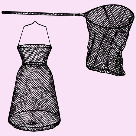 fishingnet: fishing net doodle style sketch illustration hand drawn vector