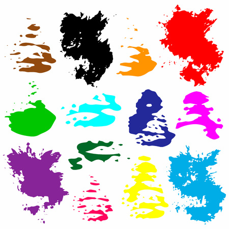 Bright multicolored grunge watercolor circles, watercolor, splash, blot vector illustration