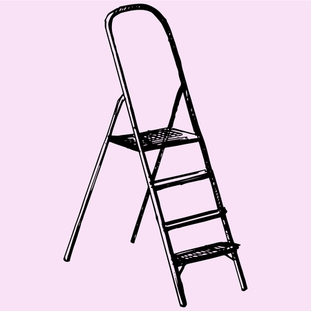Metallic Step Ladder doodle style sketch illustration hand drawn vector