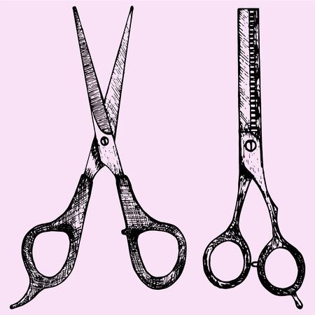 barber scissors: professional barber scissors doodle style sketch illustration hand drawn vector