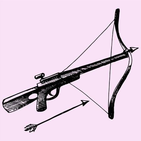Crossbow Arrow doodle style sketch illustration hand drawn vector