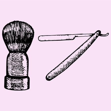 keen: retro straight razor and shaving brush, doodle style sketch illustration hand drawn vector