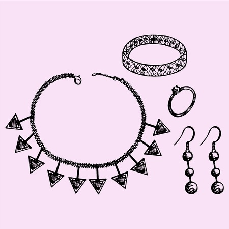 necklaces: Womens jewelry accessories, bijouterie, necklace, bracelet, earrings, ring, set, doodle style, sketch illustration, hand drawn, vector Illustration