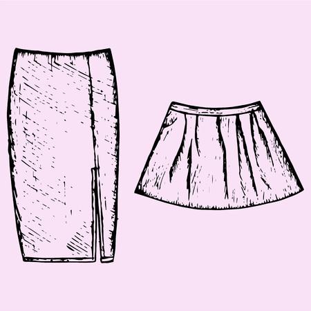 mini skirt: set of womens skirt, doodle style, sketch illustration, hand drawn, vector