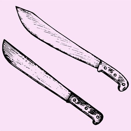 machete: set machete knife doodle style sketch illustration hand drawn vector