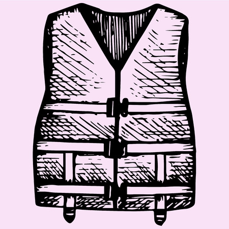 life style: Life Jacket doodle style sketch illustration hand drawn vector