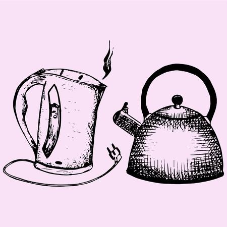 Kookplaat fluitketel, waterkoker, doodle stijl schets illustratie hand getekend vector