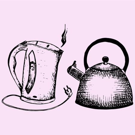 stove top: Stove top whistling kettle, electric kettle, doodle style sketch illustration hand drawn vector