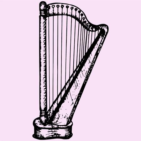 concert harp doodle style sketch illustration hand drawn vector
