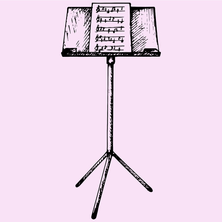 music stand: Music sheets on stand doodle style sketch illustration hand drawn vector