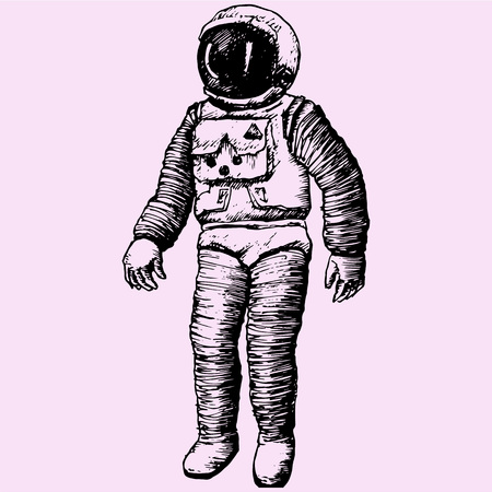 Astronaut Isolated, doodle style sketch illustration hand drawn vector Illustration