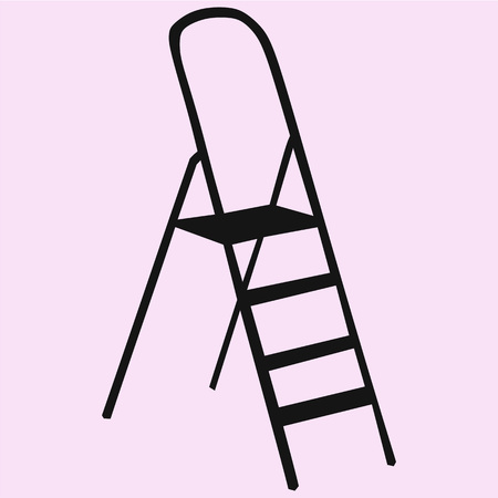 Metallic Step Ladder vector silhouette isolated
