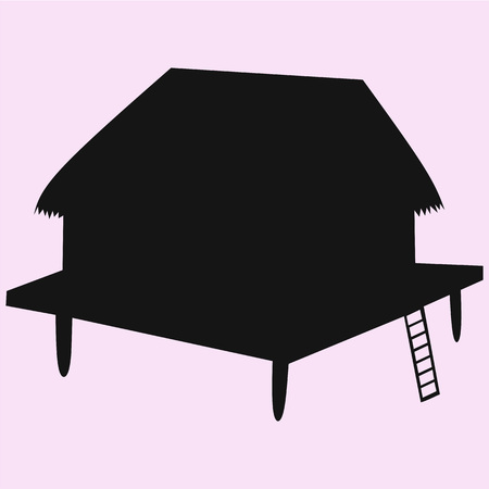 bungalow vector silhouette isolated