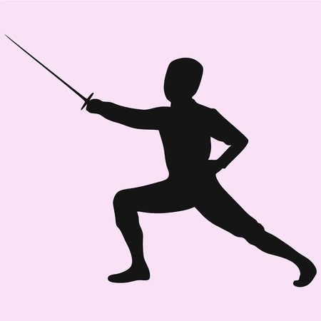 Fencing player vector silhouette isolated