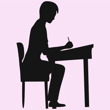 schoolboy sitting at a school desk vector silhouette isolated