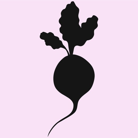 Beetroot With Leaves vector silhouette isolated 矢量图像
