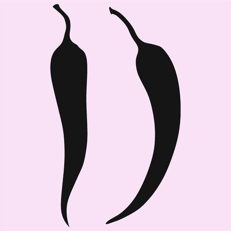 chili pepper set vector silhouette isolated