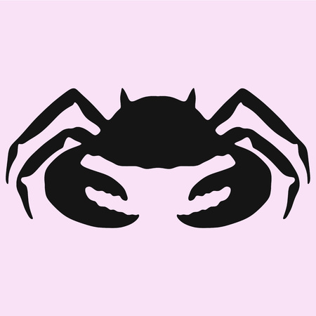 Crab, silhouette vector isolated