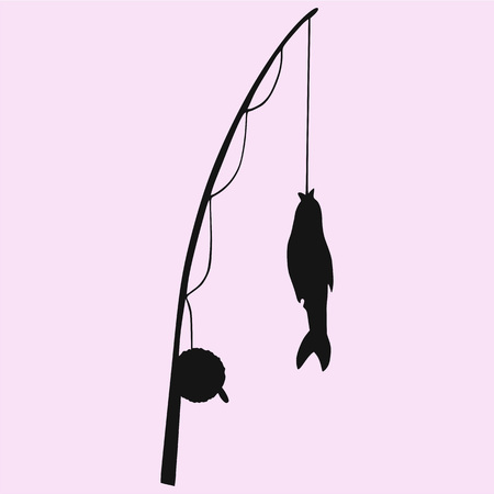 fishing rod with fish silhouette vector isolated