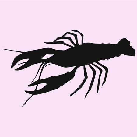 crayfish, lobster vector silhouette isolated 矢量图像