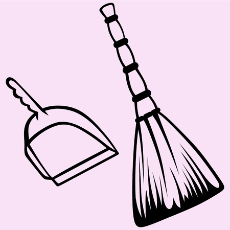 Broom and dustpan vector silhouette isolated