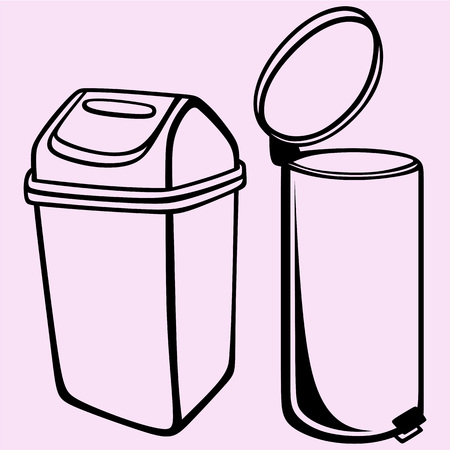 Trash can vector silhouette isolated
