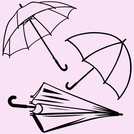 Set of umbrella vector silhouette isolated