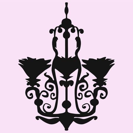 Vintage decorative chandelier silhouette Vector 矢量图像