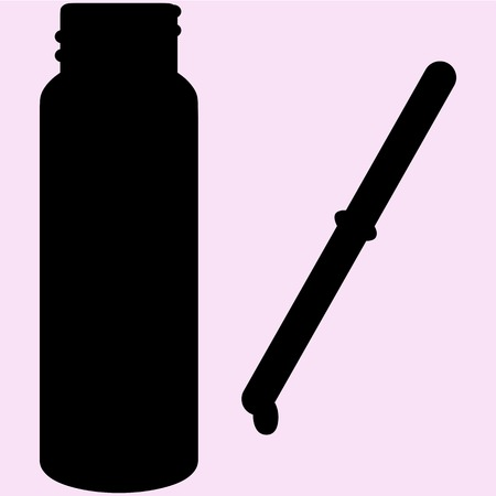 a substance vial: Pipette with drop bottle vector silhouette isolated