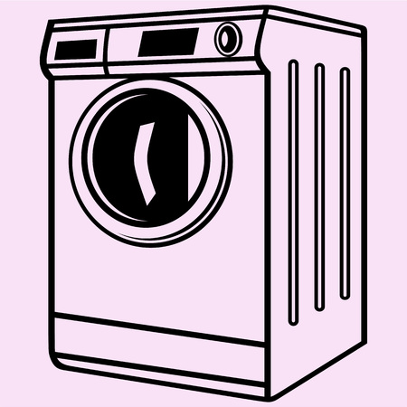 Washing machine vector silhouette isolated