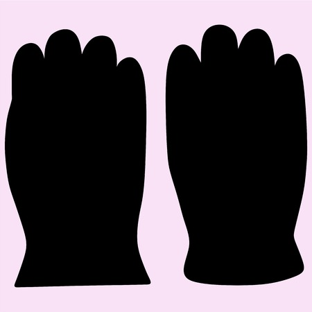 Warm winter gloves vector silhouette isolated