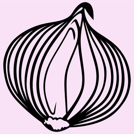 Bulb onion vector silhouette isolated 矢量图像