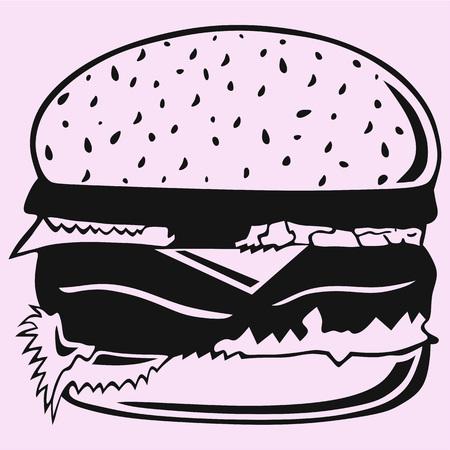 Hamburger vector silhouette isolated