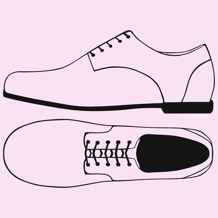 Shoes with shoelace vector silhouette isolated