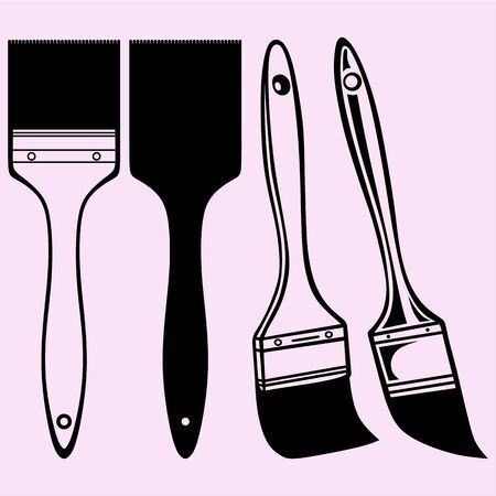 Paint brush vector silhouette isolated 矢量图像
