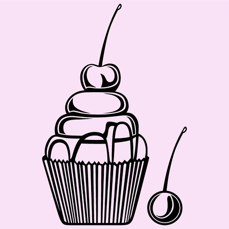 Cupcake with cherry vector silhouette isolated 矢量图像