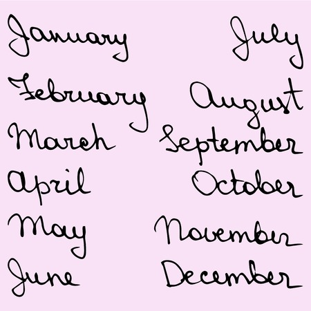 hand drawn callygraphic names of the months