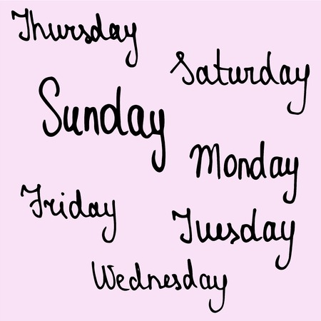 hand drawn callygraphic names of days of the week