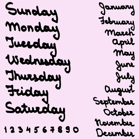 Handwritten days of the month and the week. Titles for planner  calendar  diary.
