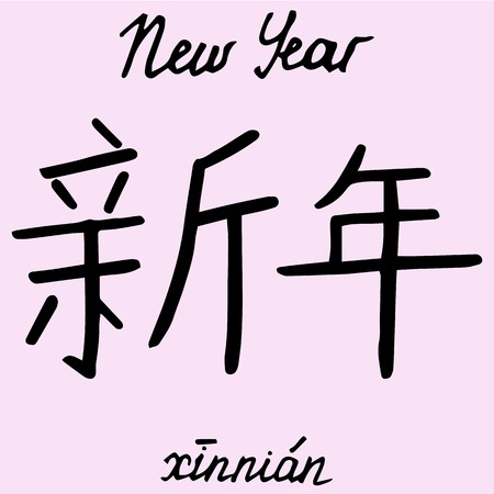 Chinese character New Year with translation into English Illustration
